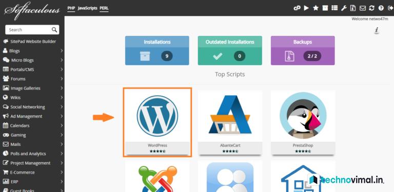WordPress install in Cpanal