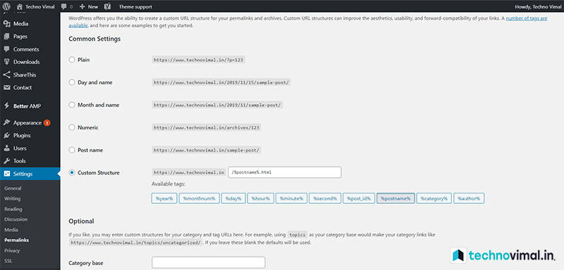 Setup WordPress Permalink Settings