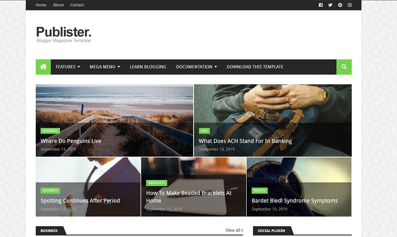 Publisher Seo Friendly Blogger Template