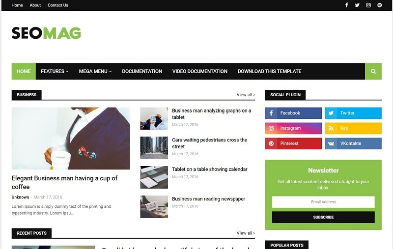 Seo Mag Adsense Friendly Blogger Template