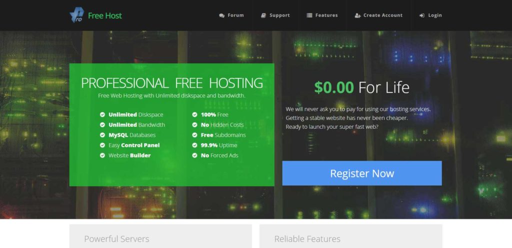 Profreehost Web Provider home page